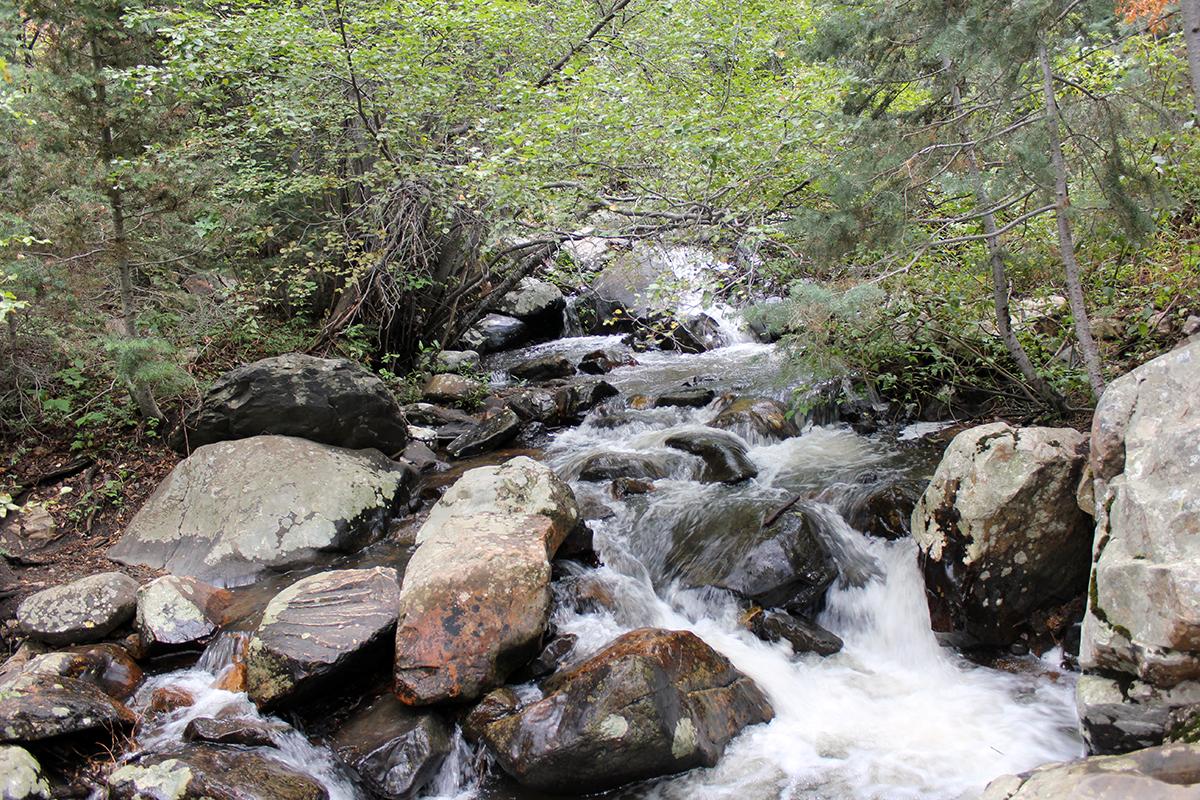 Water on Rocks at Lake Blanche Trail in Utah