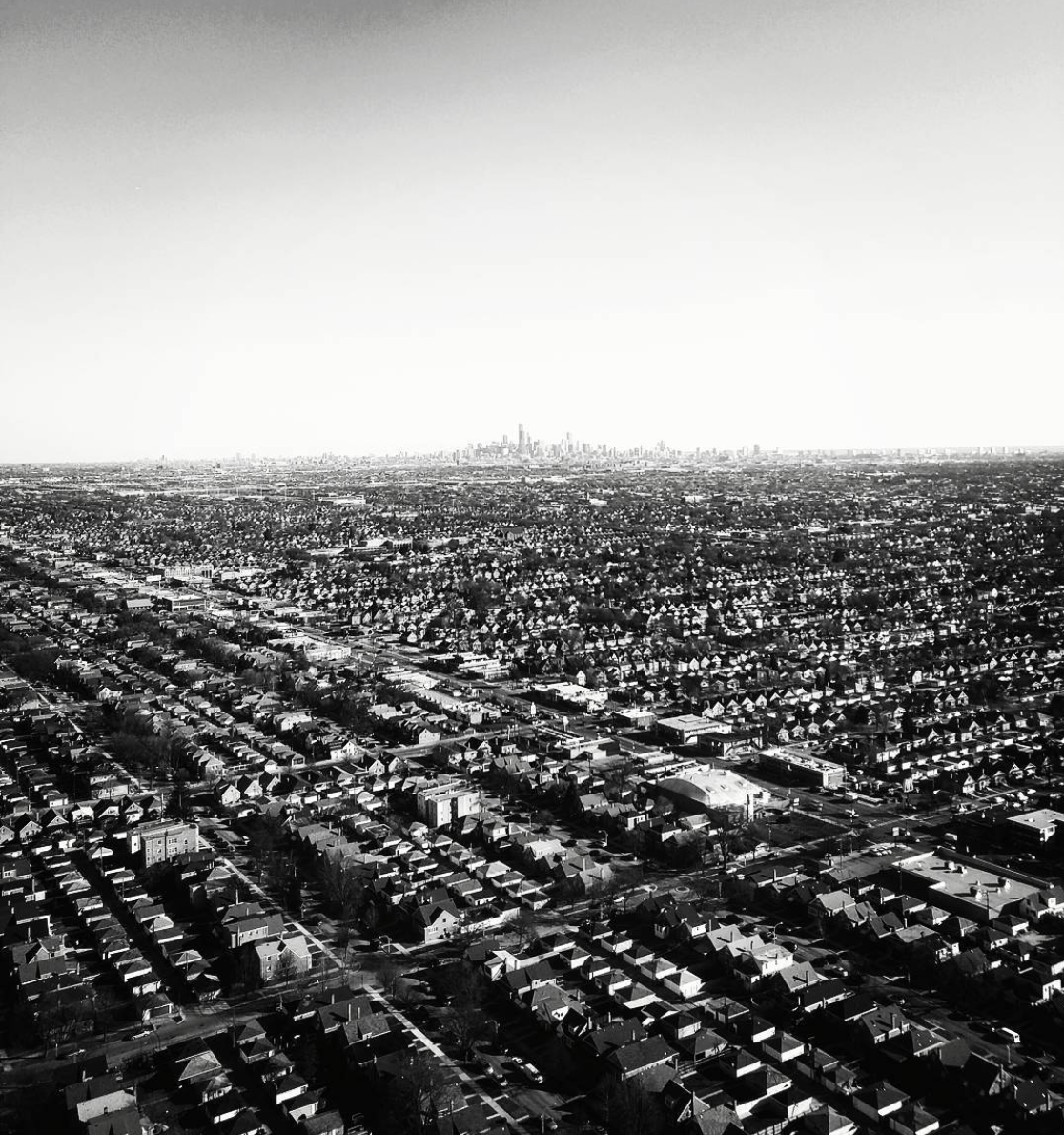 Black & White Aerial Photo of Chicago on Business Travel
