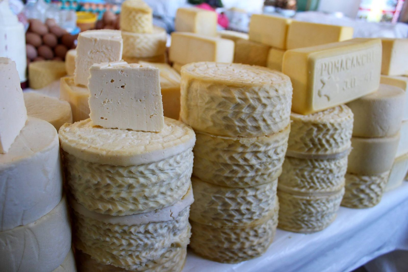 Local Cheeses at Cusco Market in Peru