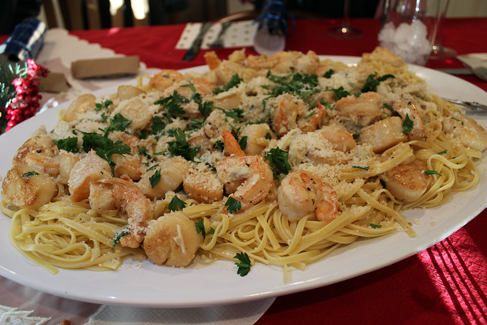 Fresh Seafood Pasta for Christmas Dinner