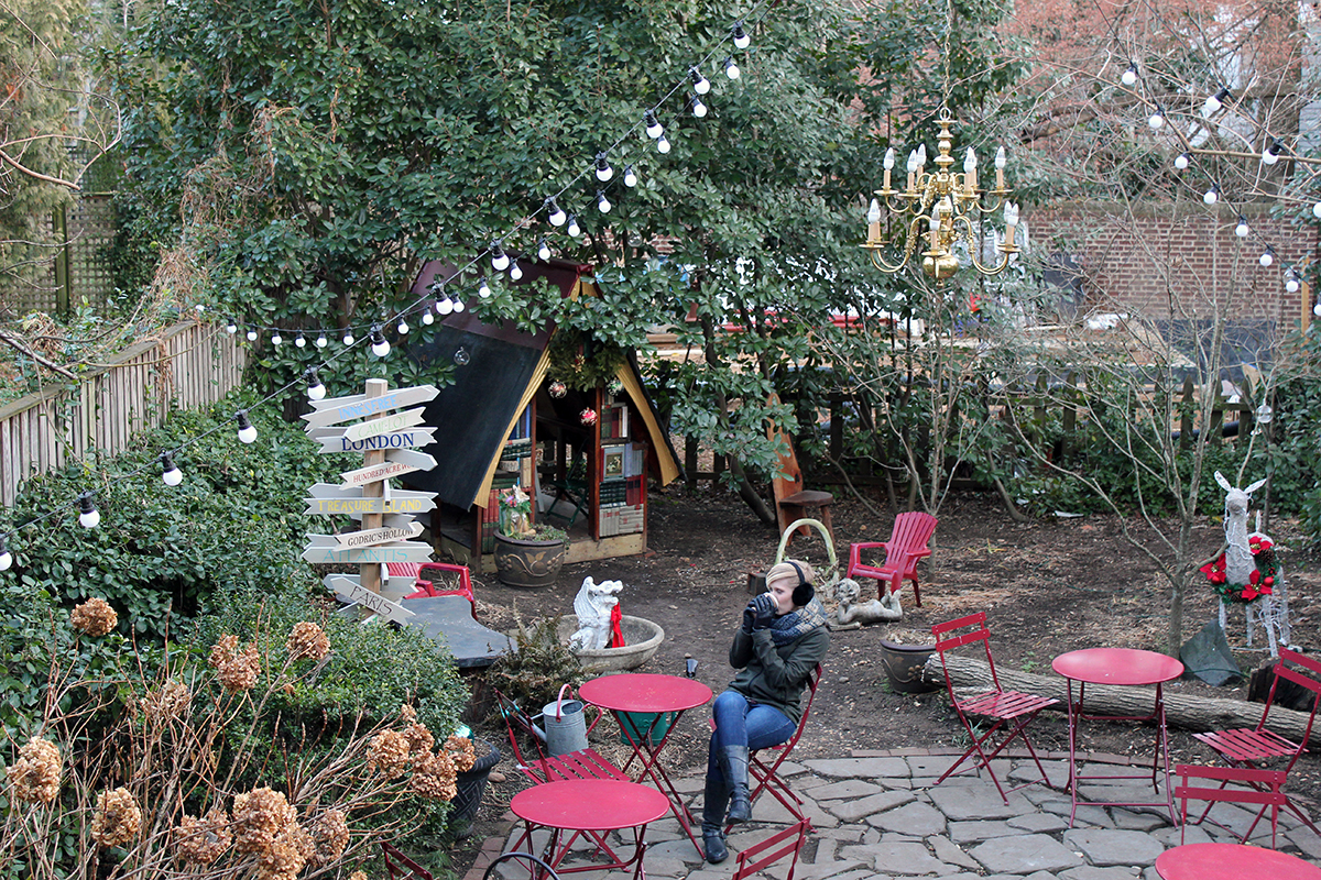 Drinking Coffee in the Garden of Old Fox Books in Annapolis, MD