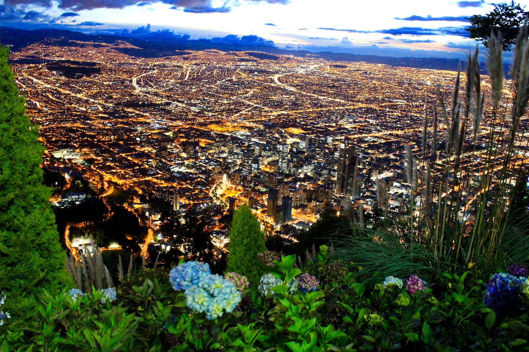 Bogotá Skyline View from Cerro Monserrate at Night