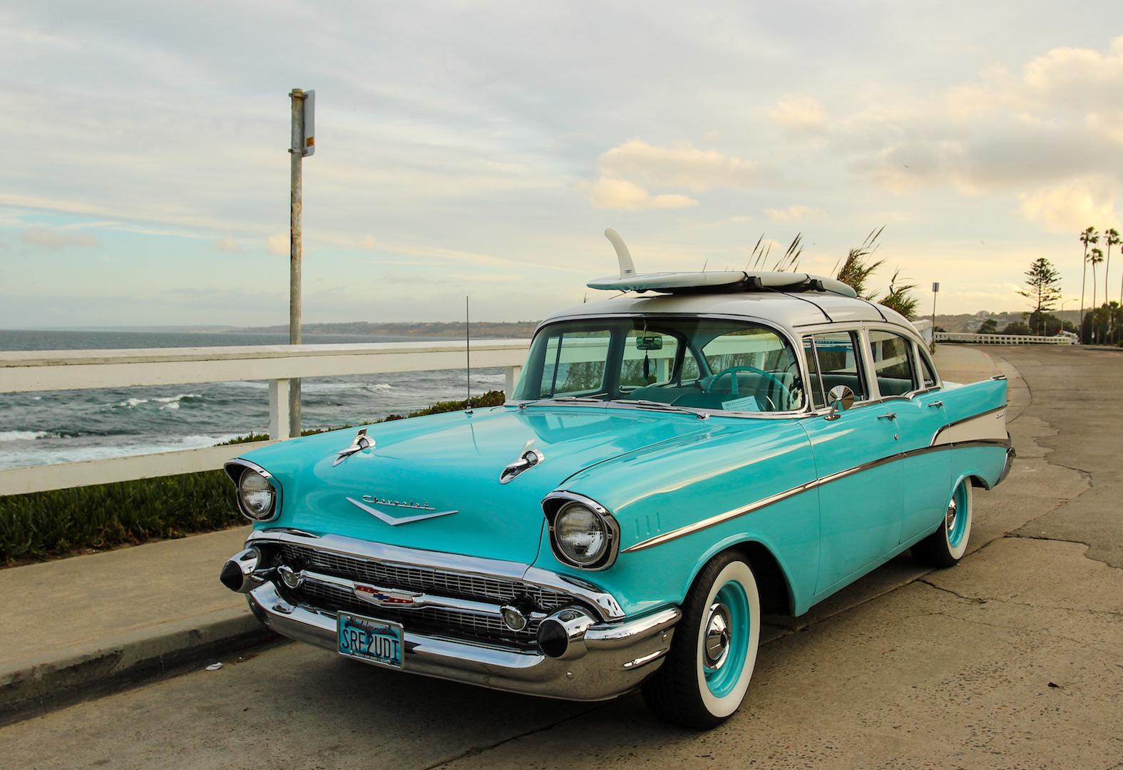 Baby Blue 1957 Chevy Seaside in La Jolla, San Diego, CA