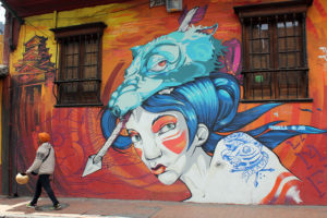 Japanese Style Woman Street Art - Bogotá Colombia Graffiti Tour