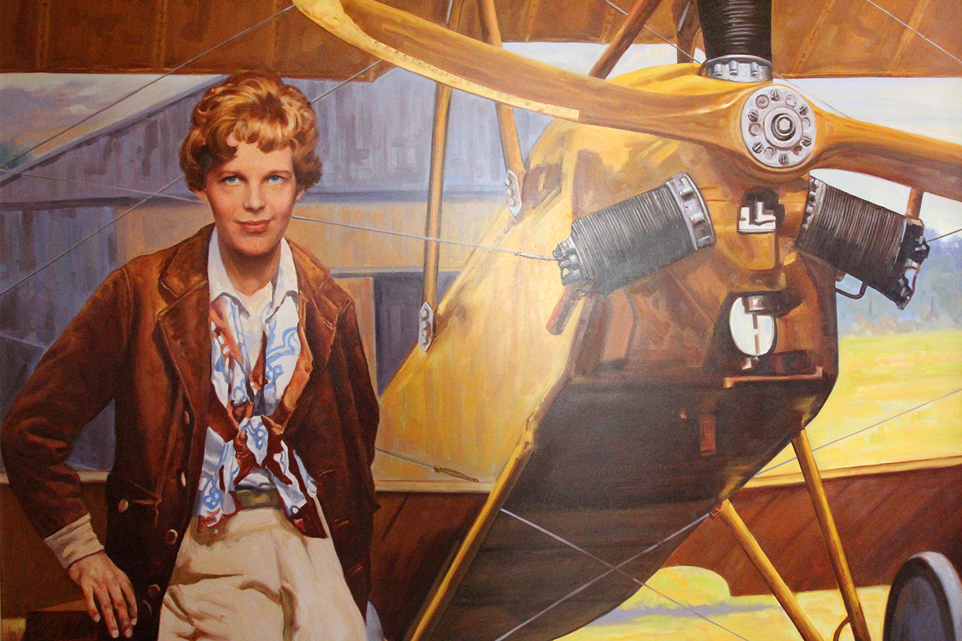 Painting of Amelia Earhart in Atchison, KS