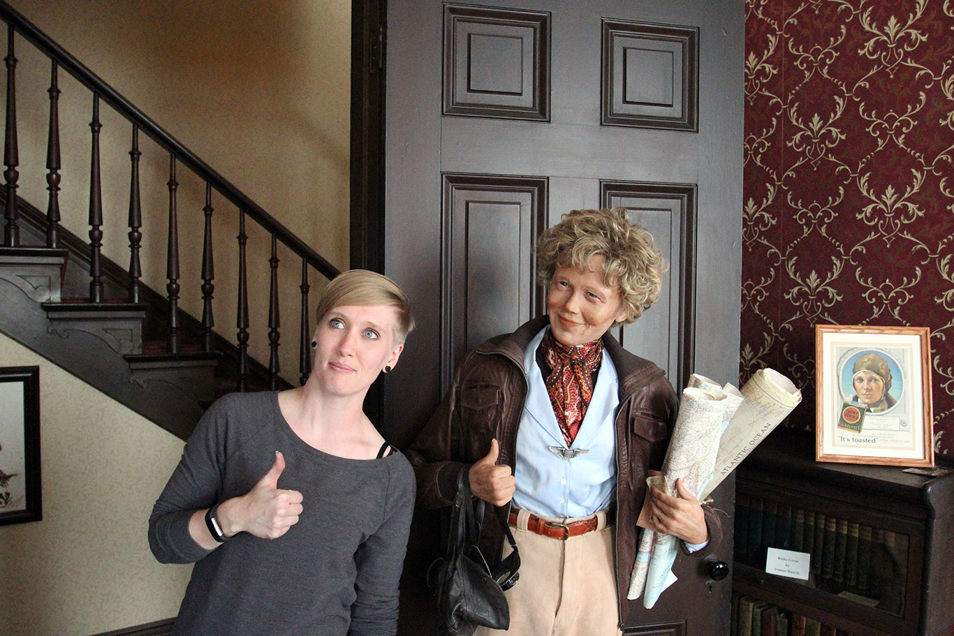 Me with an Amelia Earhart Wax Statue in Atchison, KS