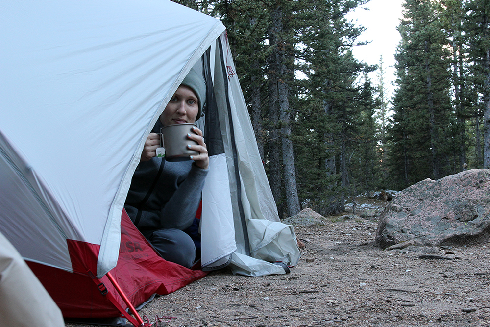 Drinking Tea in My Tent at Campsite in Pike National Forest
