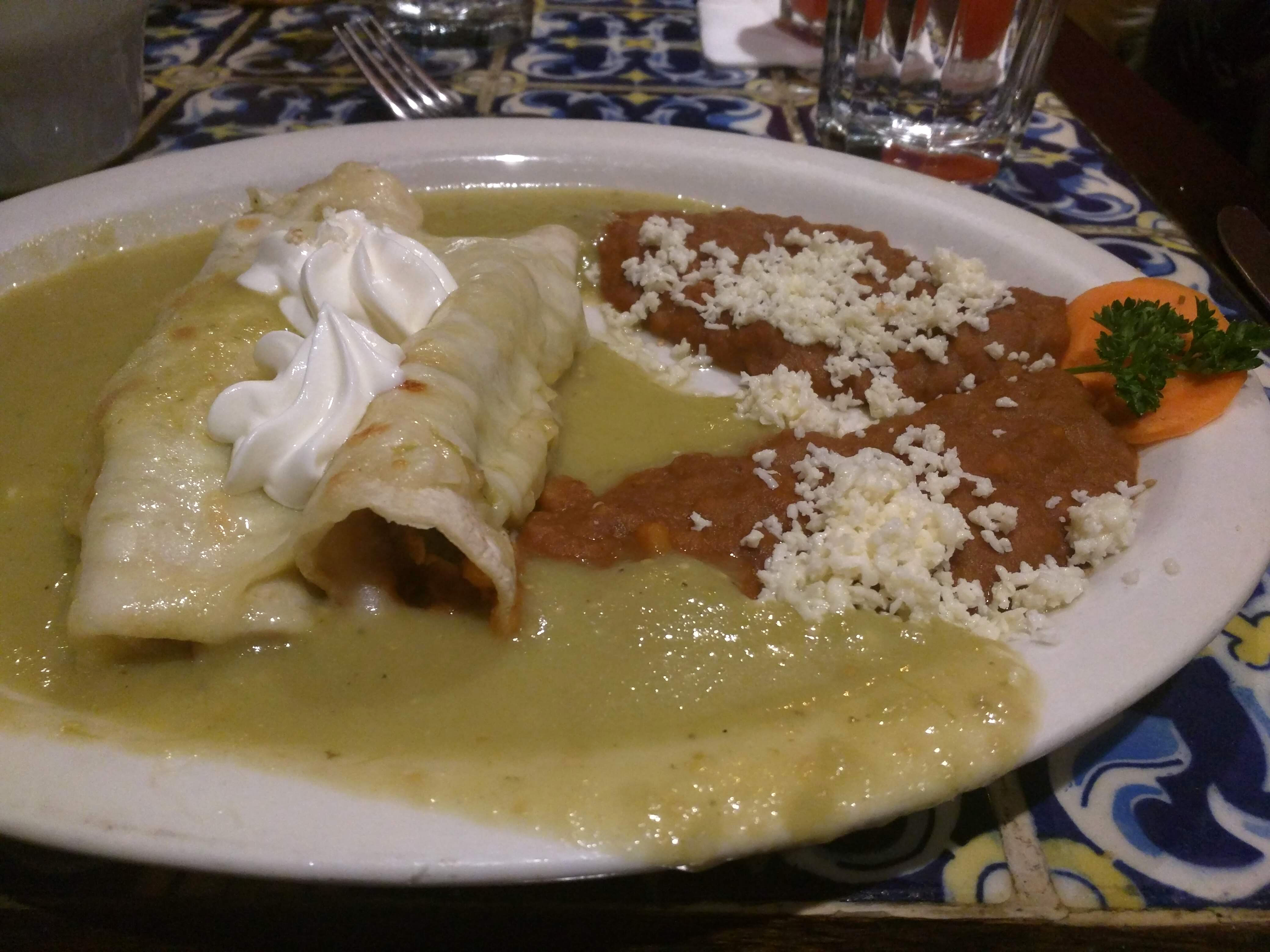 Vegetarian Enchiladas at Casa Romero in Boston