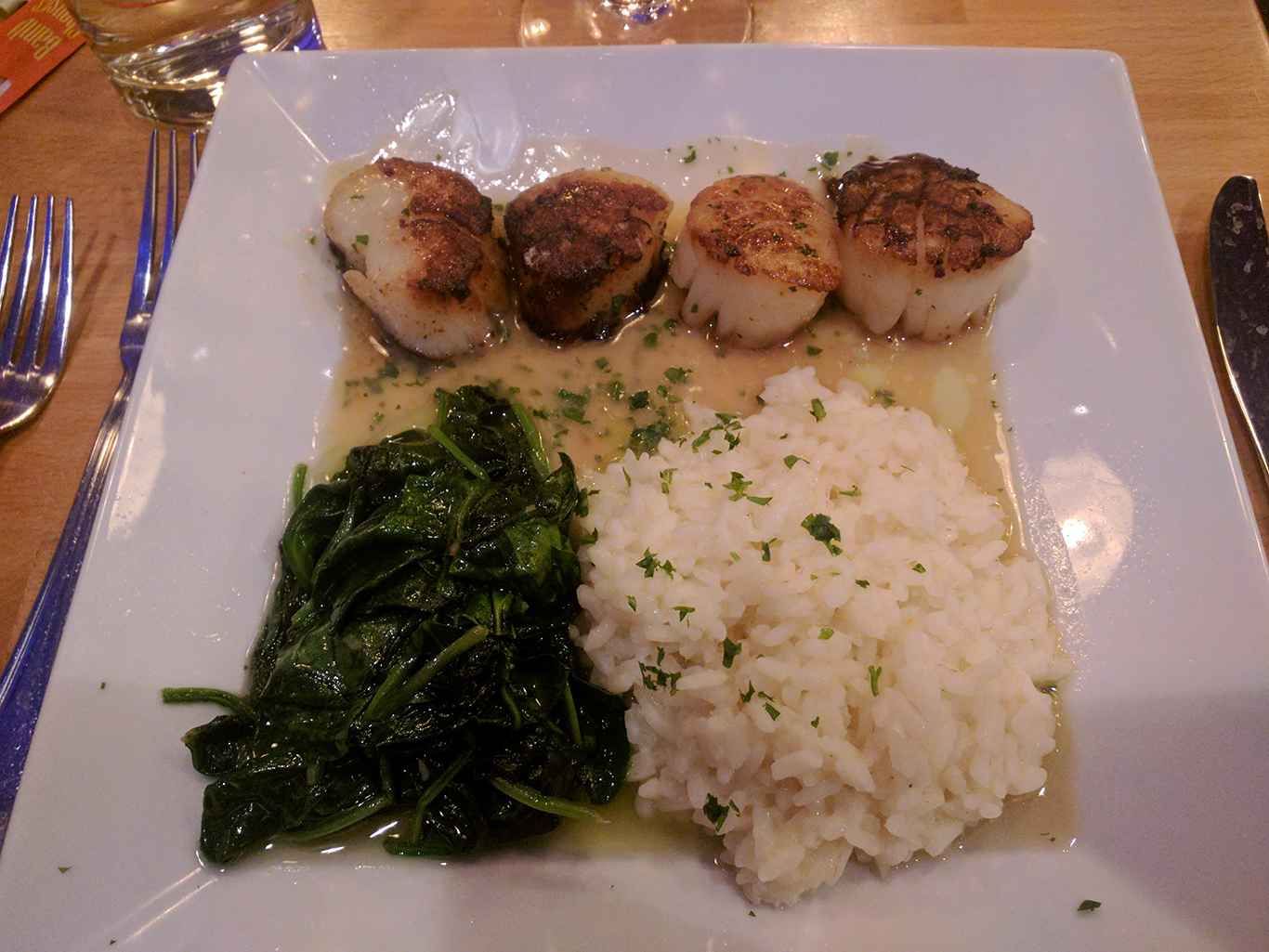 Scallops with Risotto at Blue on Highland in Needham, Massachusetts