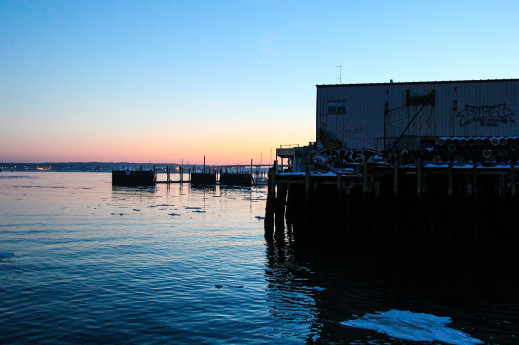 Sunset Over Fore River Waterfront in Portland, Maine
