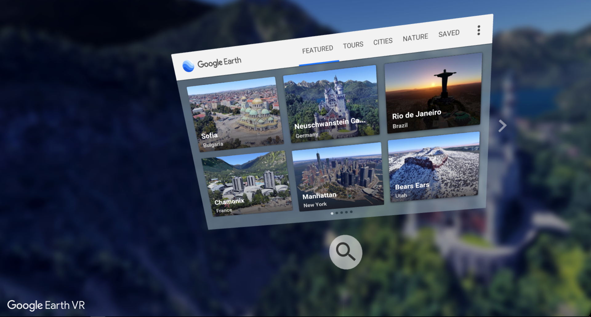 Google Earth VR Navigation & Search Menu