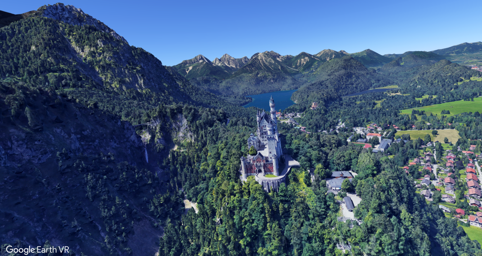 Neuschwanstein Castle in Southern Germany by Google Earth VR