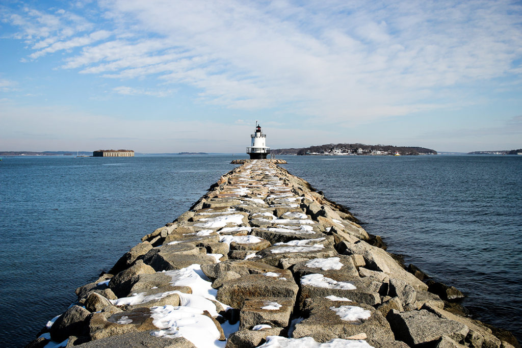 Spring Point Ledge Lighthouse & Stone Breakwater in Portland, Maine