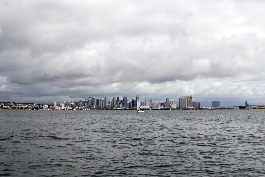 San Diego skyline from the Pacific ocean