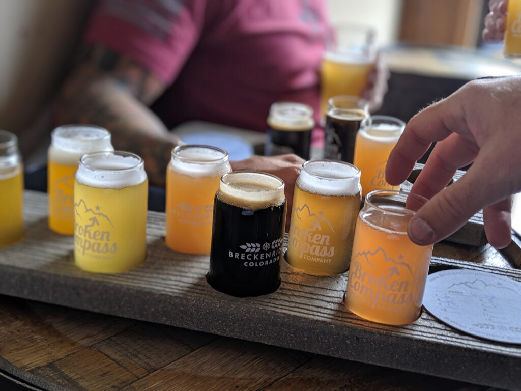 Beer Flights at Broken Compass Brewing in Breckenridge