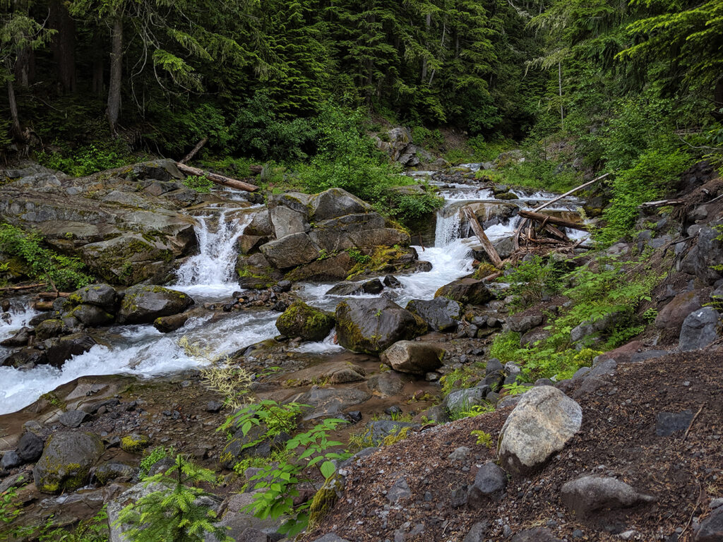 Glacial Creek Flowing on Mount Rainier