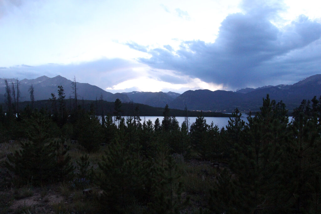 Dusk at Prospector Campground Over Dillon Reservoir in Colorado