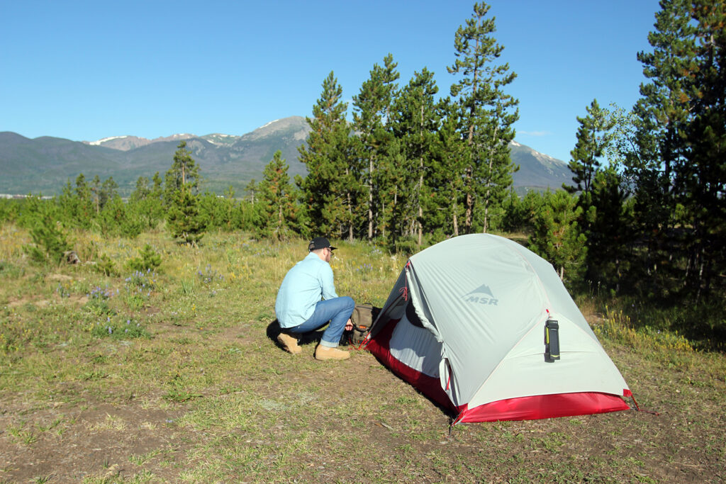 Setting Up Camp at Prospector Campground in Colorado