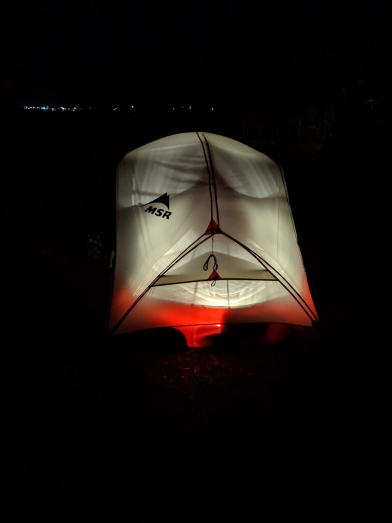Tent at Night at Prospector Campground Colorado