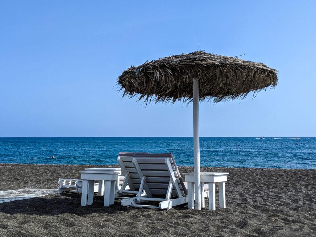 Volcanic Sand Perissa Beach Umbrella Aegean Sea Santorini