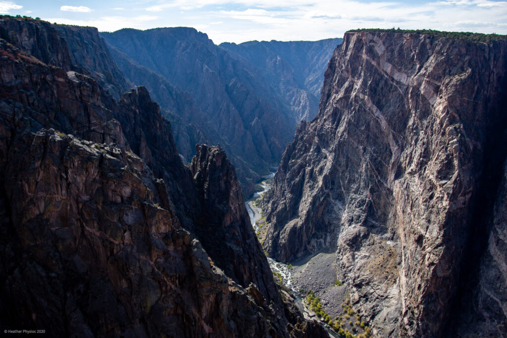 Light Shining on Gunnison River at Black Canyon of the Gunnison National Park in Colorado
