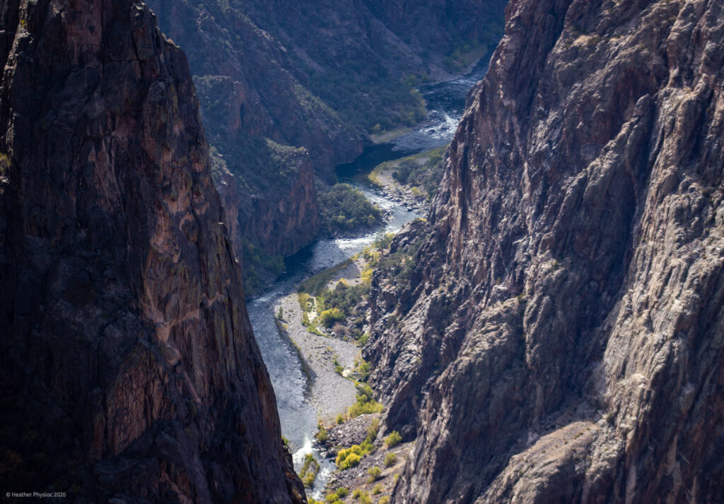 Winding Gunnison River at the Bottom of the Canyon