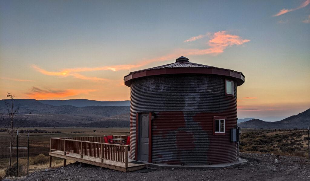 Tin Can Granary Silo AirBNB Cabin in Antimony, Utah