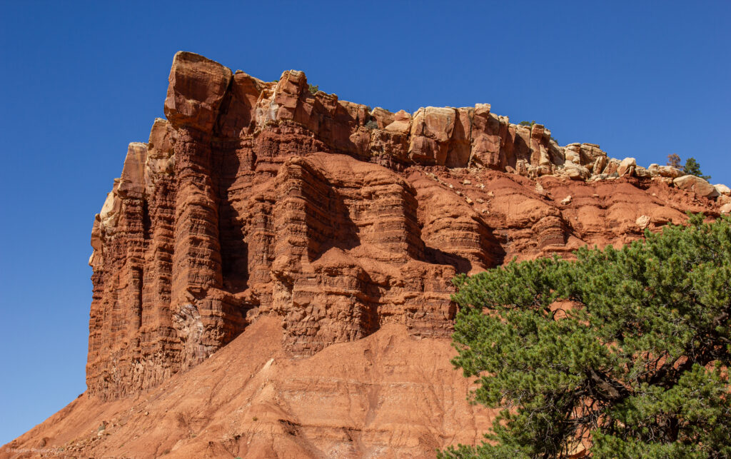 Capitol Reef National Park Geologic Formation Reminiscent of Acropolis in Athens, Greece