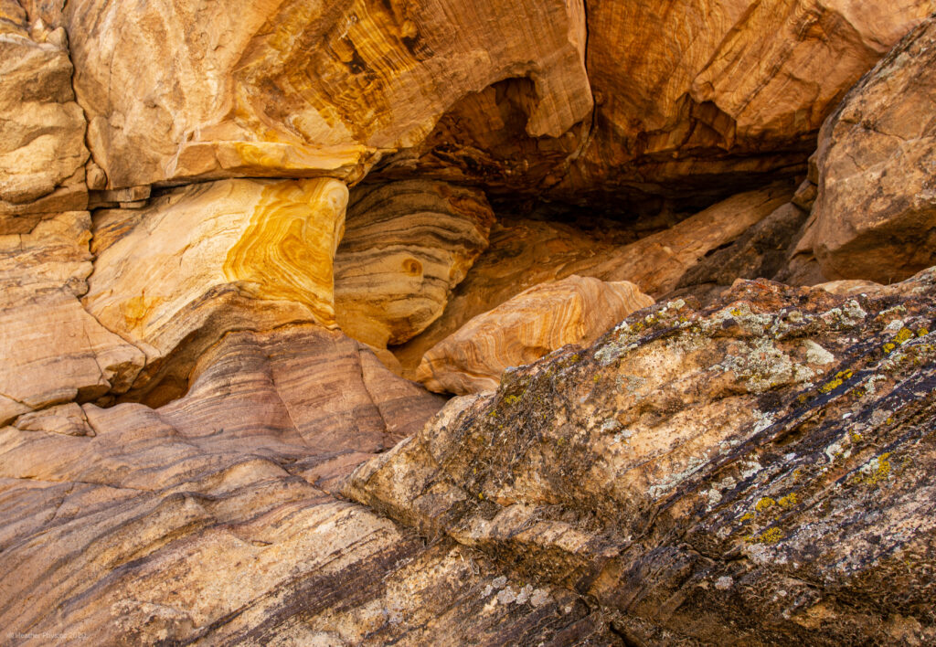 Yellow Stratified Sedimentary Rock in Capitol Reef National Park in Utah