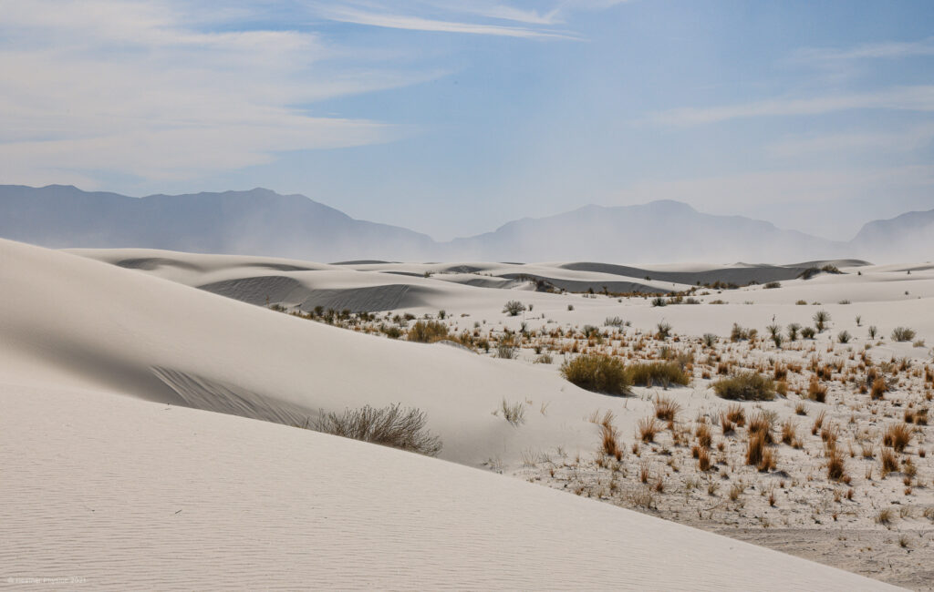 Sand Storm in front of the mountains at White Sands National Park in New Mexico