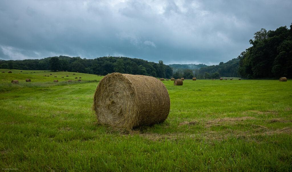 Hay Bales at Farm Near Knobstone Trail in Indiana