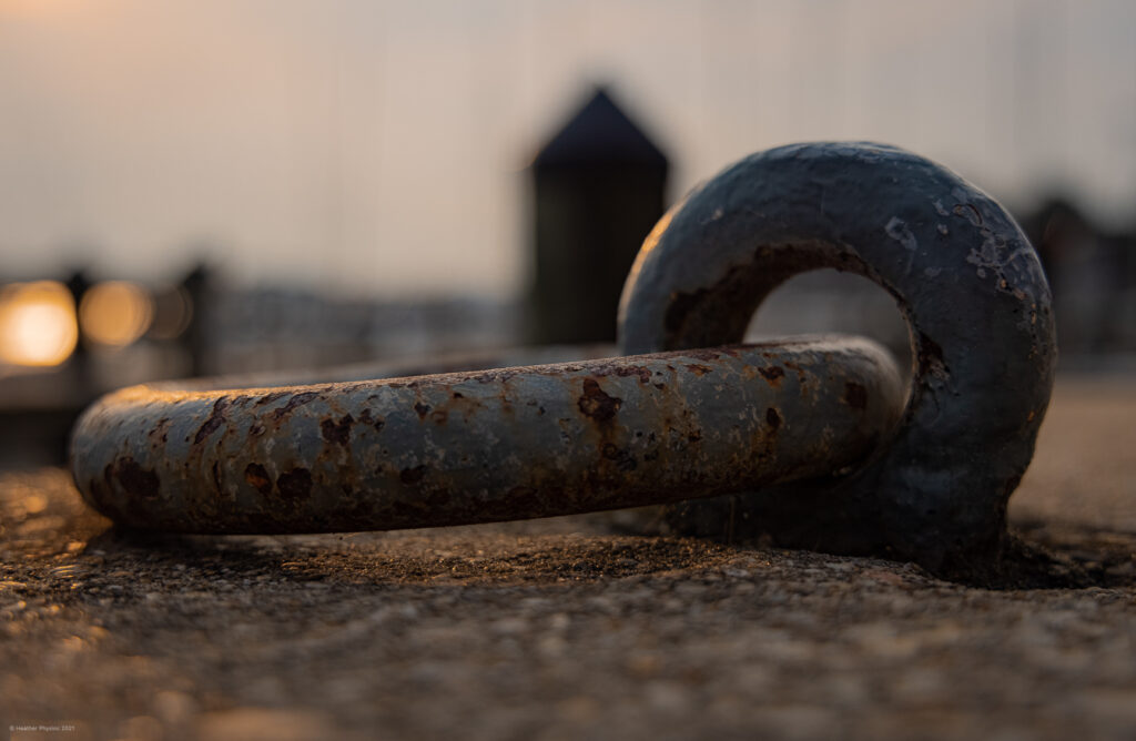 Circular Mooring Ring in Concrete at Sunrise on the United States Naval Academy Yard in Annapolis, Maryland
