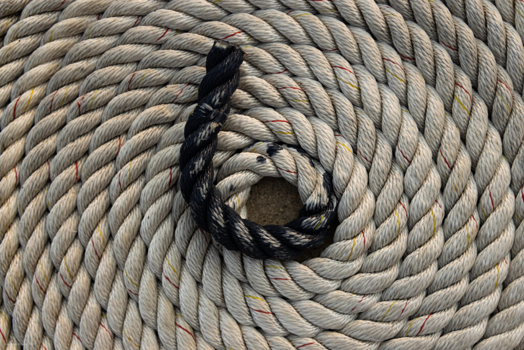 Coiled Boat Mooring Line Rope at the United States Naval Academy in Annapolis Maryland