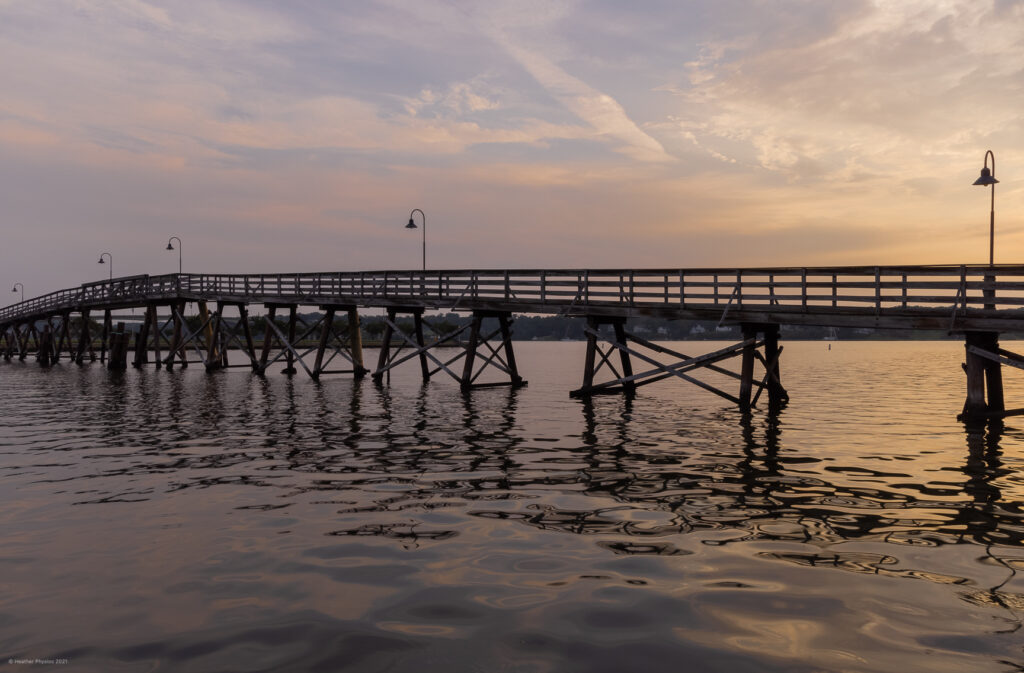 Fitch Bridge Lights Over Dorsey Creek at Sunrise on the United States Naval Academy Yard in Annapolis, Maryland