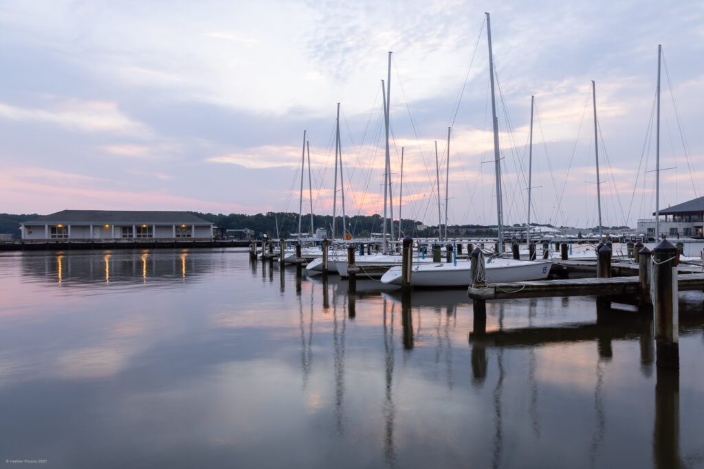 Boats at Sunrise in Santee Basin on United States Naval Academy Yard in Annapolis, Maryland
